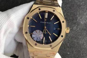 18K Yellow Gold Audemars Piguet Royal Oak Blue dial replica