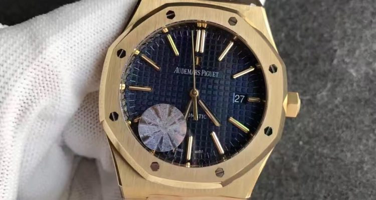 18K Yellow Gold Audemars Piguet Royal Oak Blue dial replica