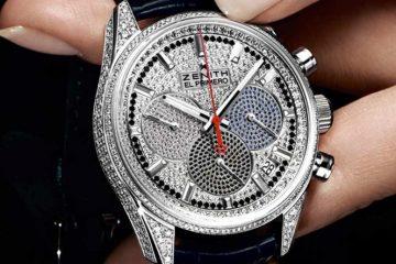 Zenith El Primero 36'000 VpH Chronograph Diamonds Dial Leather Strap Copy Watch